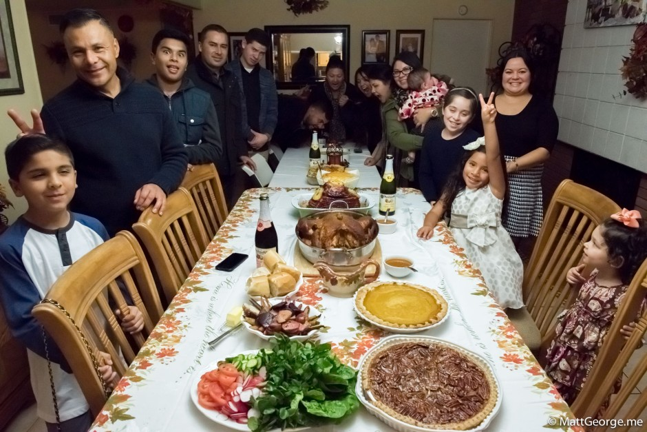 The Fam Acting Crazy at Thanksgiving Table of Food