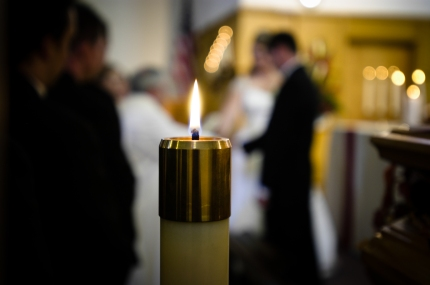 Unity Candle Lit at Wedding During Ceremony - MattGeorge.me