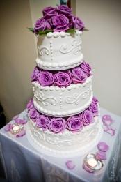Purple Flowers with Wedding Cake
