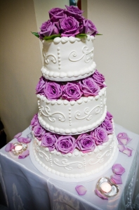 Purple Flowers with Wedding Cake