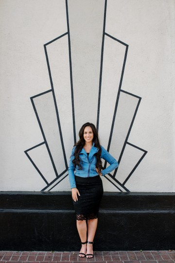 Lady in Front of Wall Graphic Portrait
