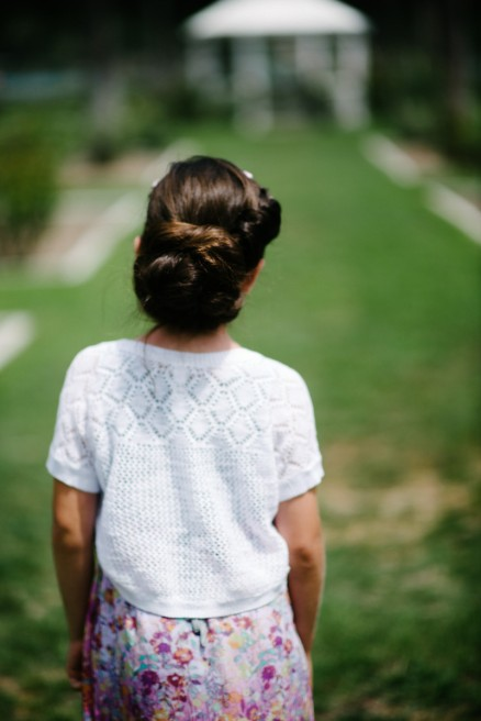 Back of Hair Bun on Girl Portrait