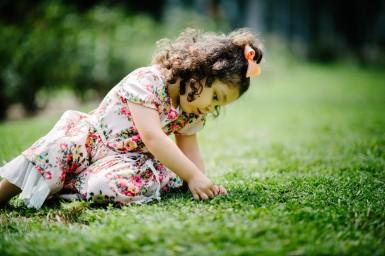 Child on Grass Portrait