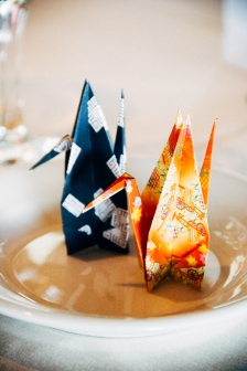 Origami on Plate on Table for Wedding Reception