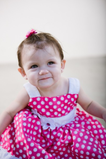 Baby in Pink and White Polka Dot Dress Portrait