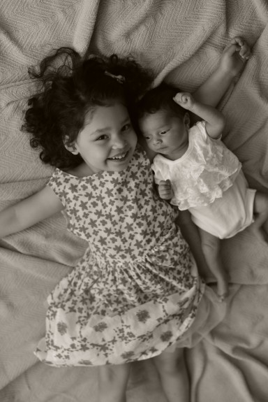 Baby Sister and Older Sister Portrait