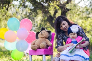 Daughter One Year Old Portrait with Mommy and Balloons